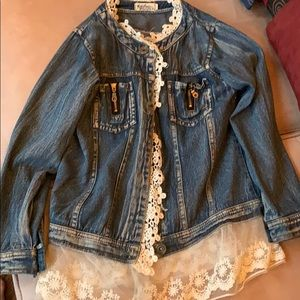 Other - Girls lace trim jean coat